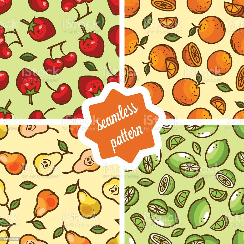 cute fruit patterns set vector art illustration