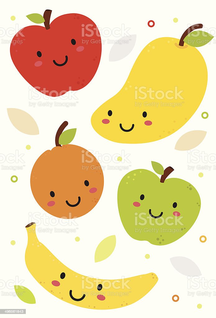 Cute Fruits vector art illustration
