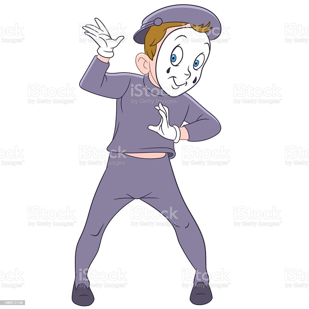 cute funny french mime vector art illustration