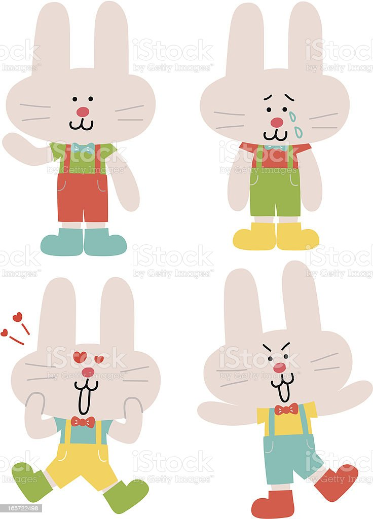 Cute Funny Male Bunny Characters in various moods royalty-free stock vector art
