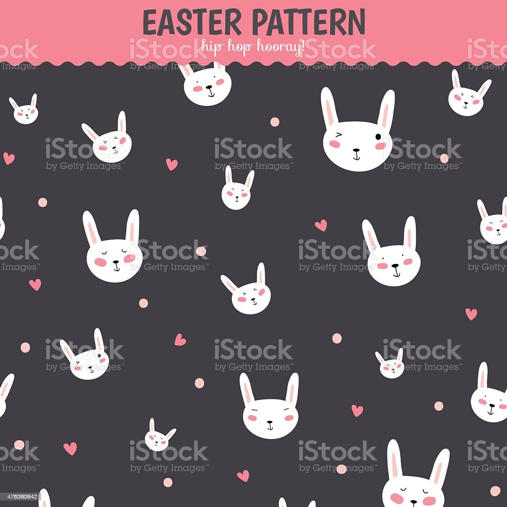 Cute funny seamless pattern with Bunny and hearts vector art illustration