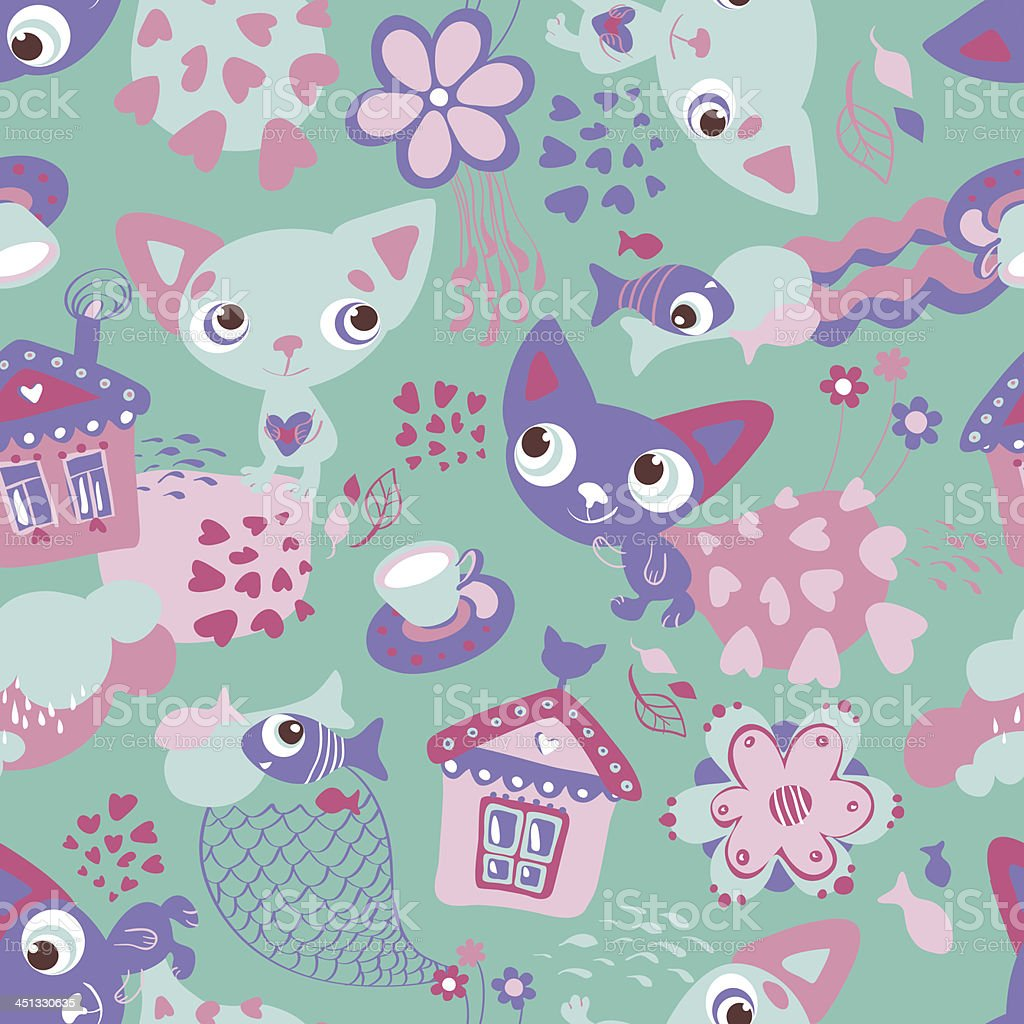 Cute Funny Seamless Pattern With Cats And Fishes Royalty Free Stock Vector Art