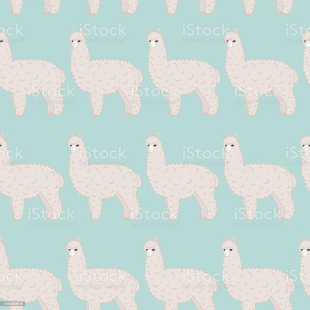 Cute furry alpaca. Vector seamless pattern. vector art illustration