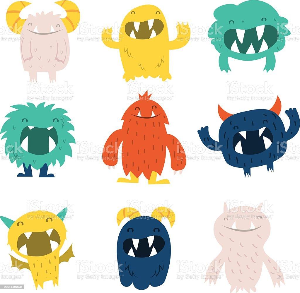 Cute Furry Monsters Set vector art illustration