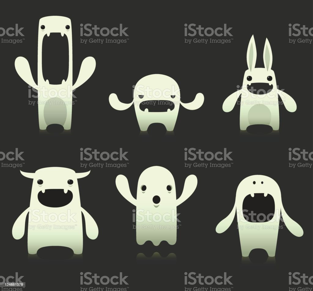 Cute Ghost Characters Glow In The Dark royalty-free stock vector art