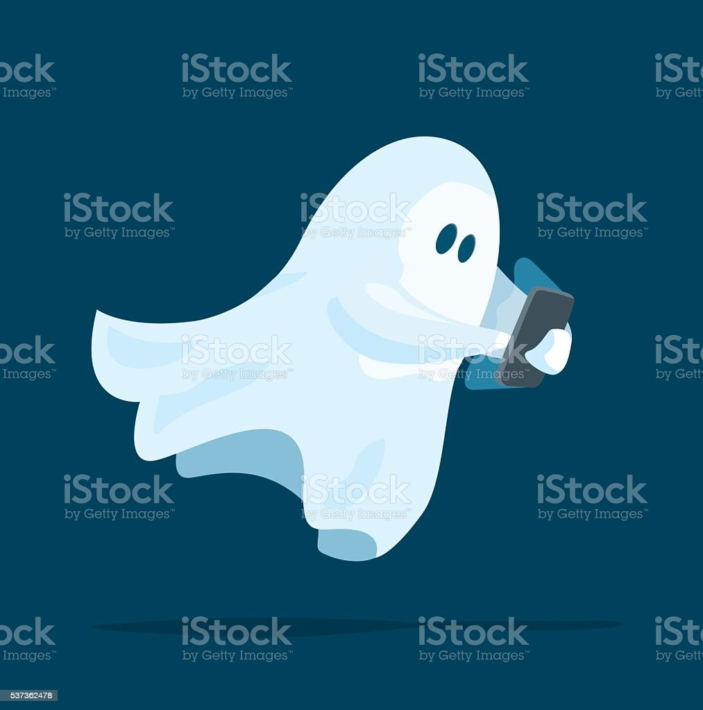 Cute ghost using a smart phone device vector art illustration