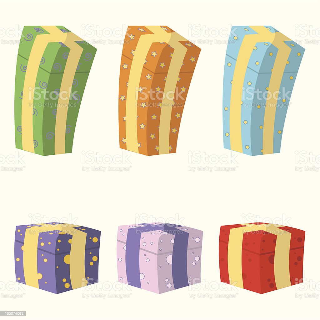 Cute Gift Boxes royalty-free stock vector art