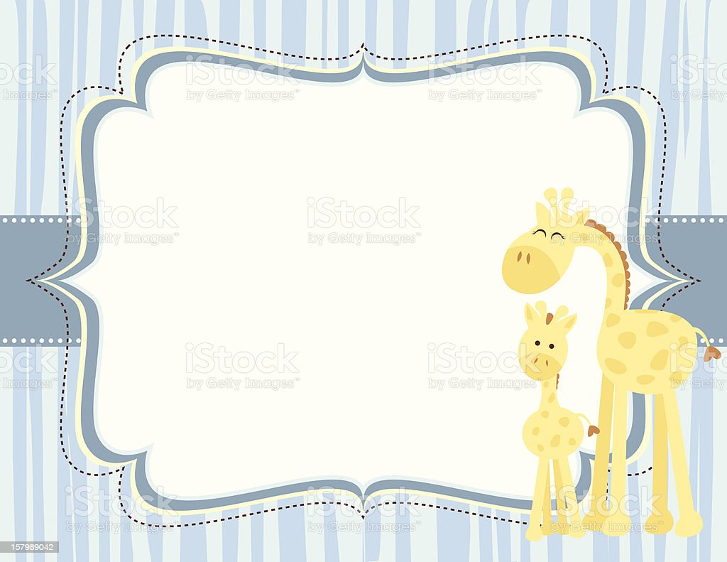 Cute Giraffe Baby Boy Card vector art illustration