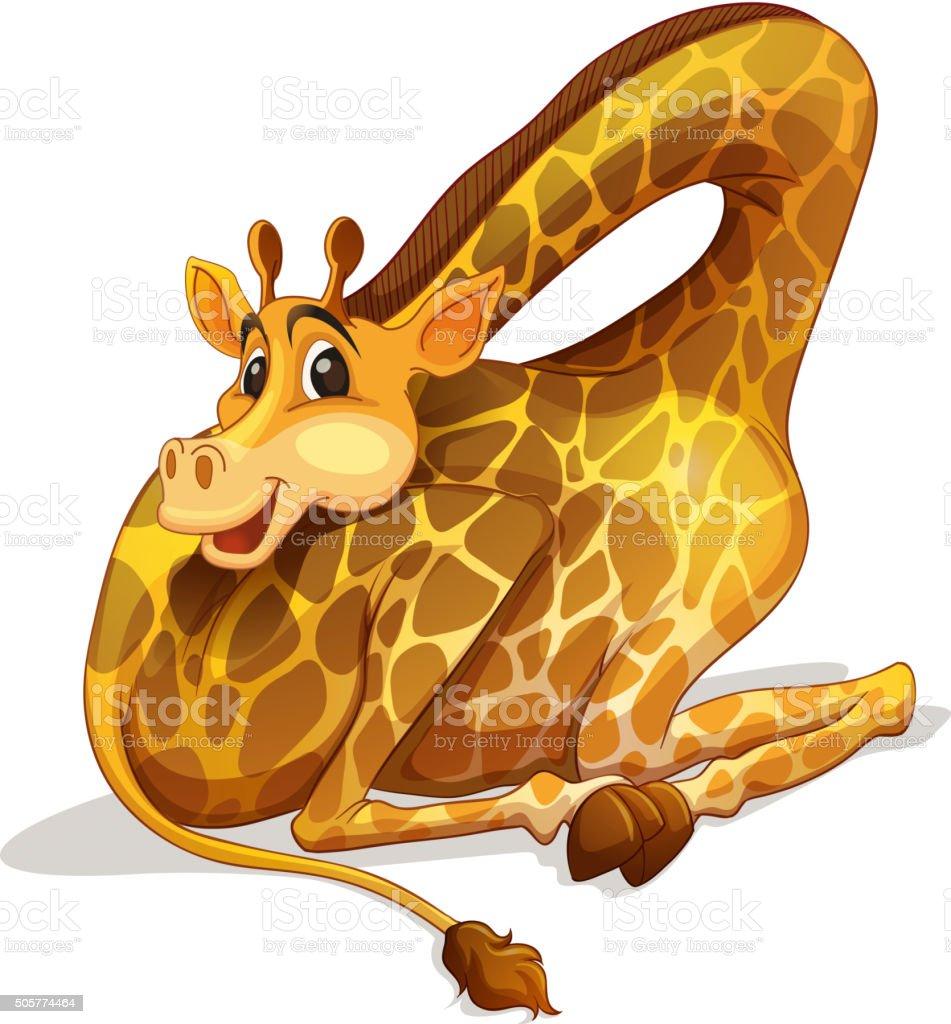 Cute giraffe folding its neck vector art illustration