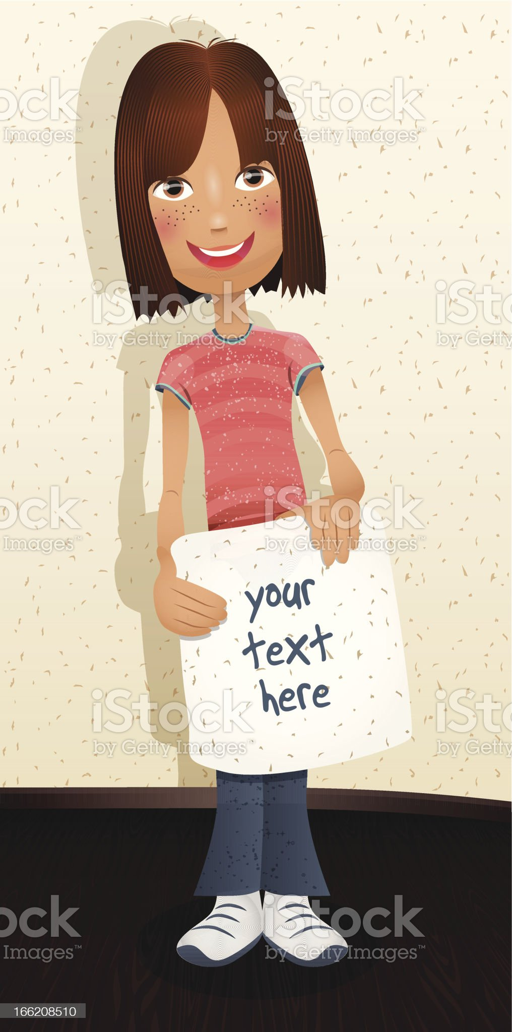 Cute girl and banner royalty-free stock vector art