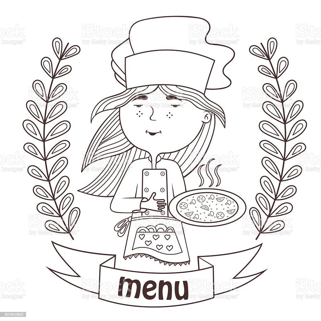 ragazza carina chef cucinare pizza menù illustrazione 501642602 ... - Cucinare Pizza