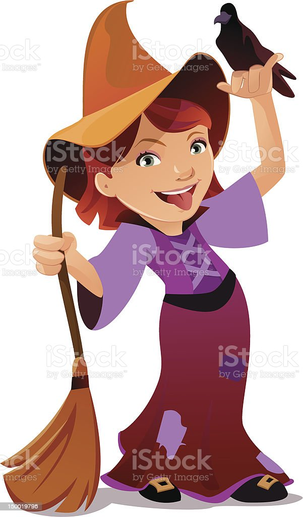 Cute Girl dressed up as a Witch for Halloween vector art illustration