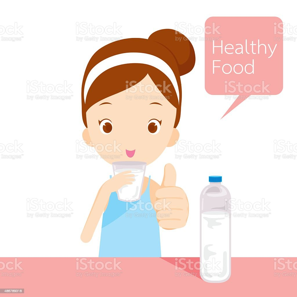 Cute girl drinking water vector art illustration