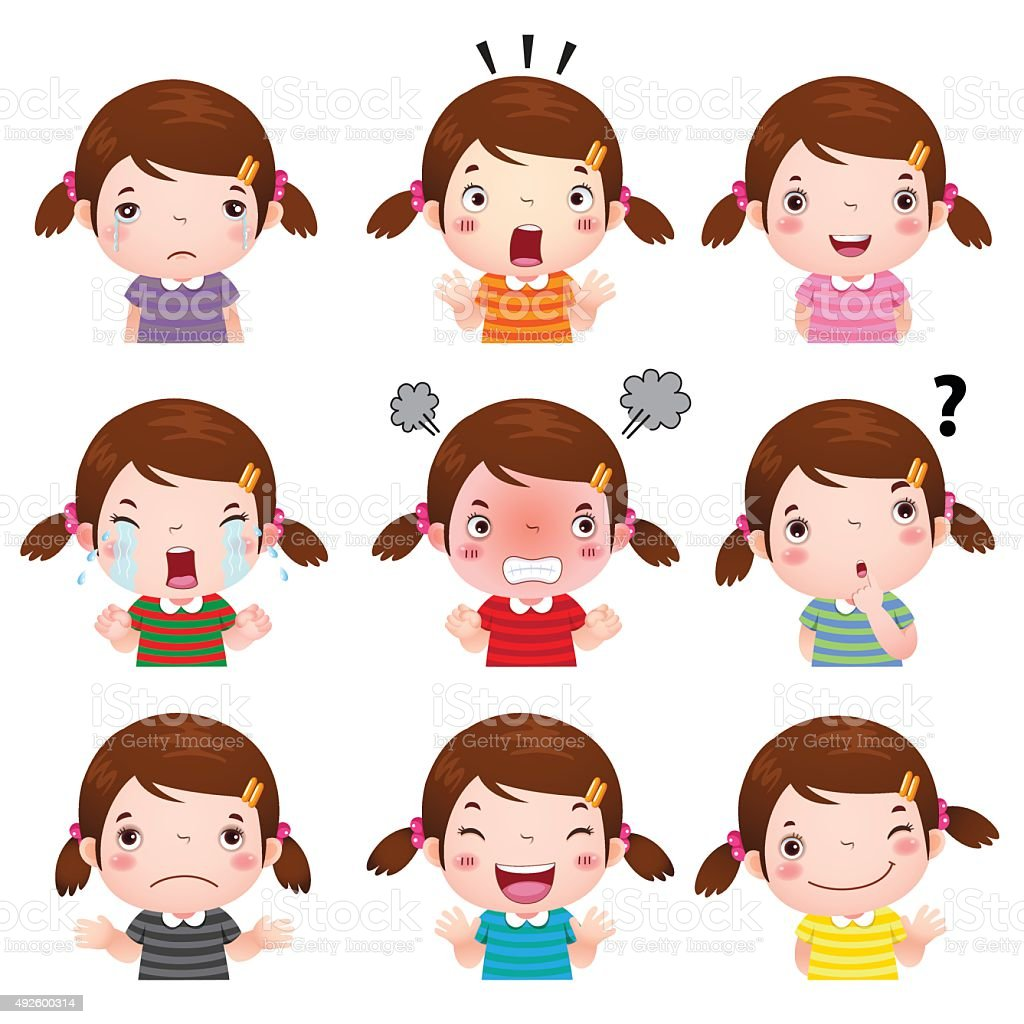 Cute girl faces showing different emotions vector art illustration