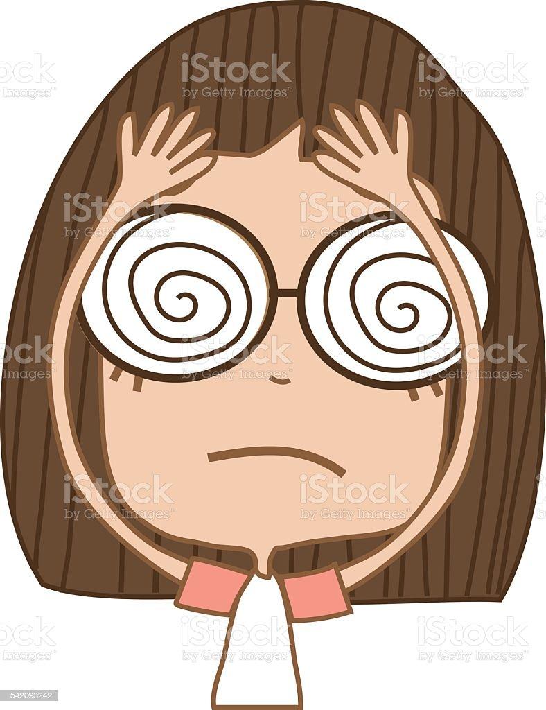 Cute girl feeling dizzy. vector art illustration
