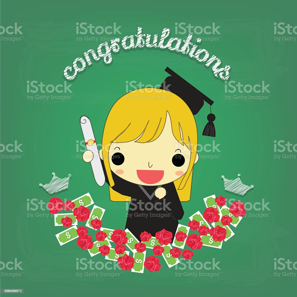 cute girl graduate with flower and money on board vector art illustration