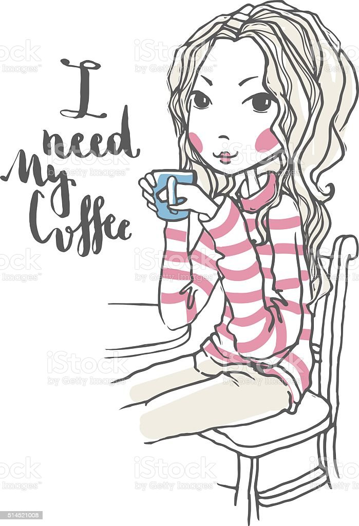 Cute girl illustration vector art illustration