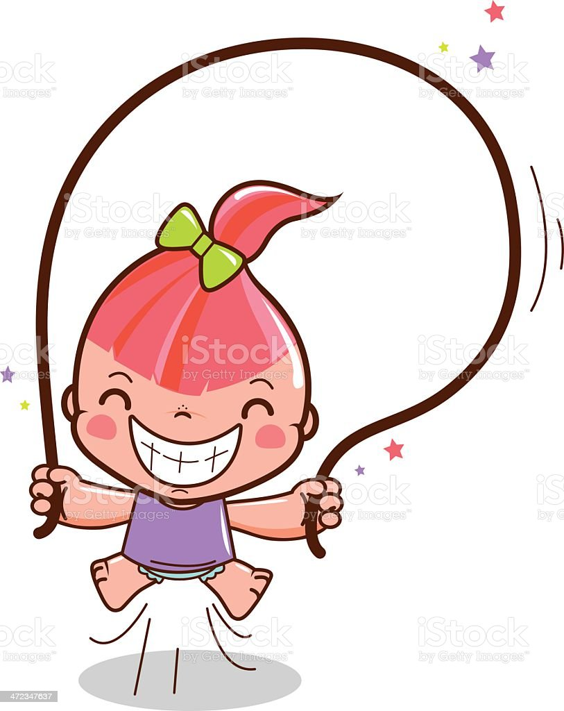 Cute girl jumping rope royalty-free stock vector art