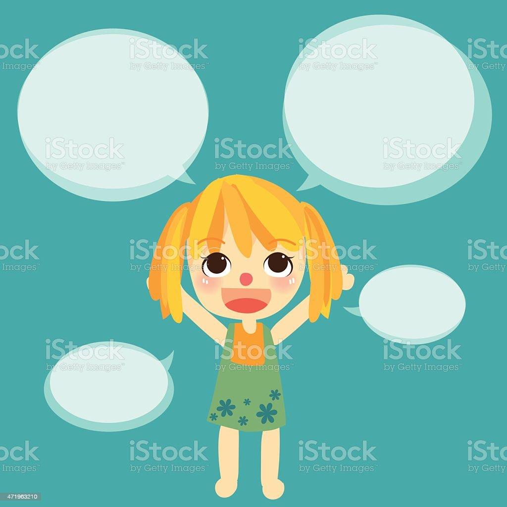 cute girl kids talk with bubble vector vector art illustration