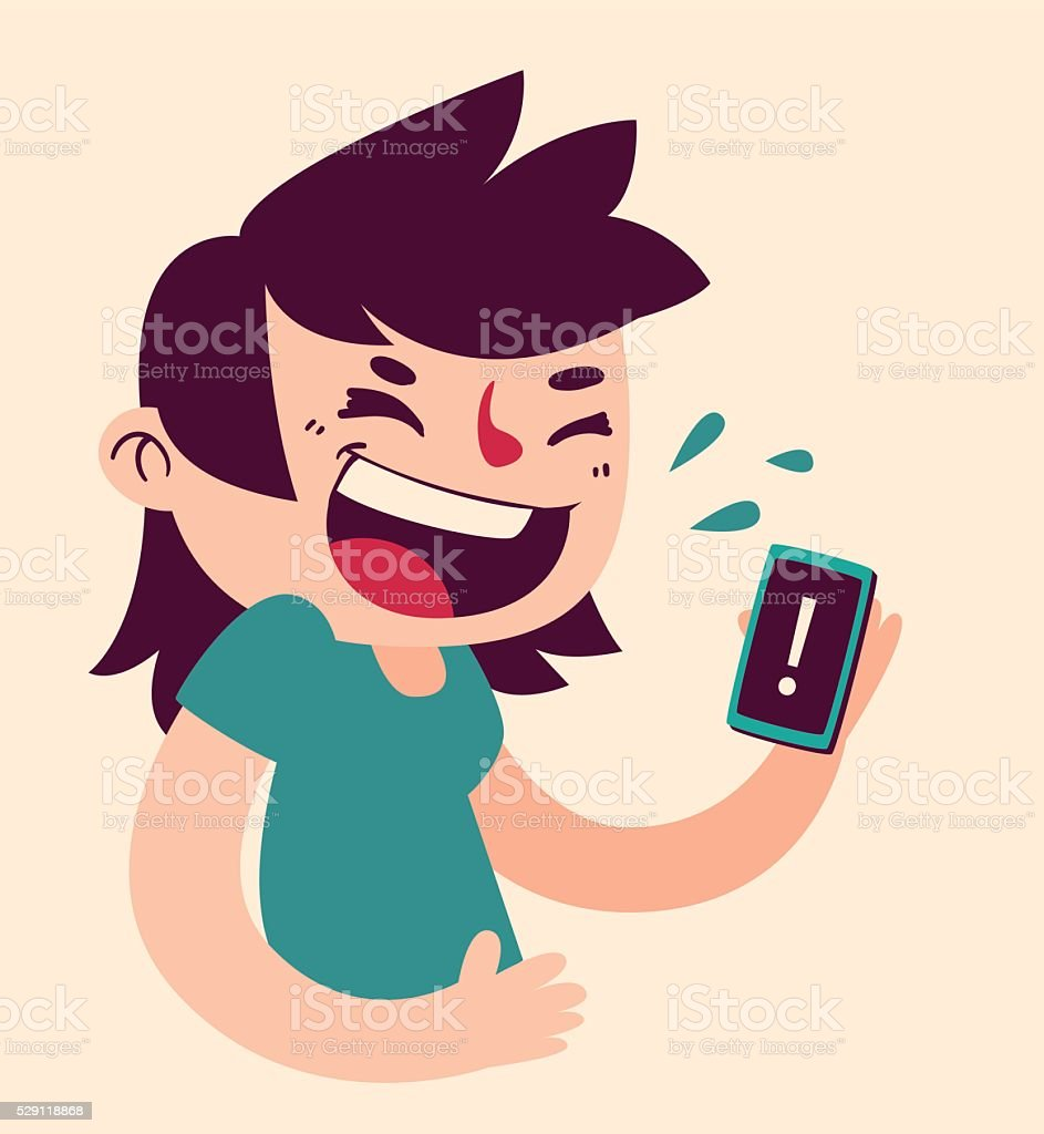 Cute Girl Laughing at the Phone vector art illustration