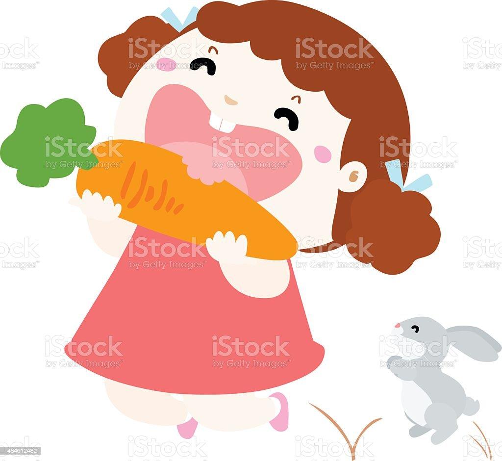 cute girl love to eat vegetable vector illustration vector art illustration