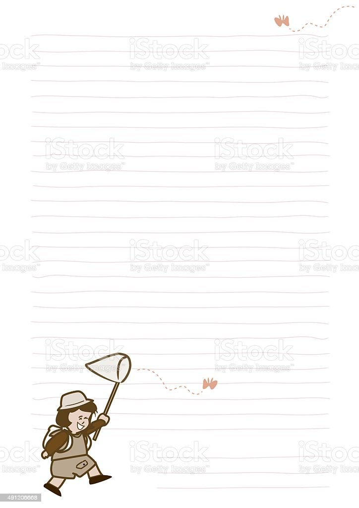 Cute girl playing catch butterfly on memo paper vector art illustration