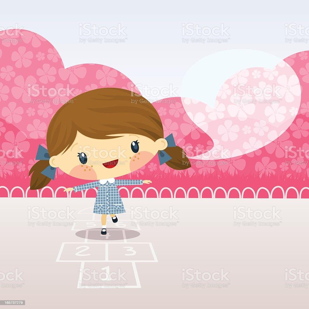 Cute girl playing  hopscotch. Schoolgirl illustration vector cartoon happy royalty-free stock vector art