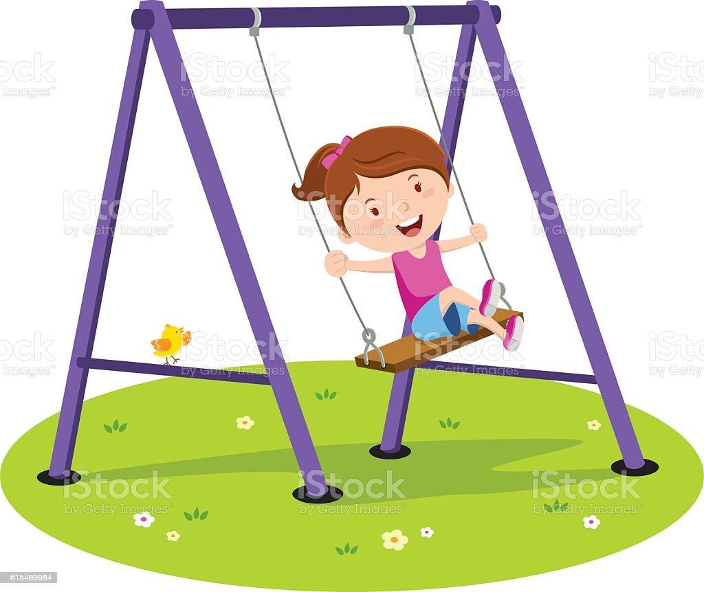 Vector illustration of a little girl having fun on the swing.
