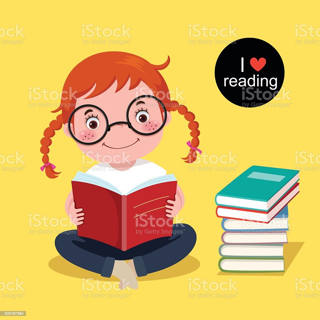Cute girl reading a book vector art illustration