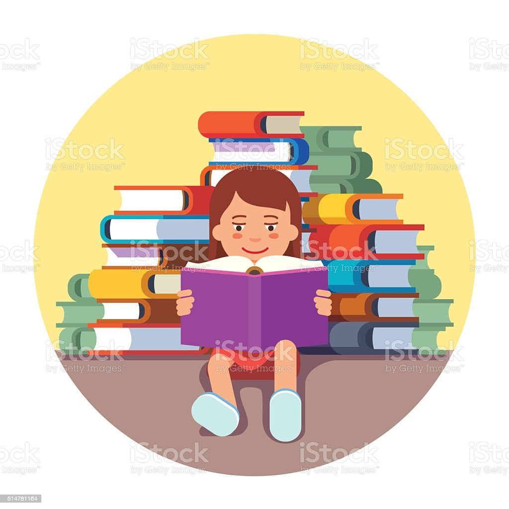 Cute girl sitting and reading a book vector art illustration