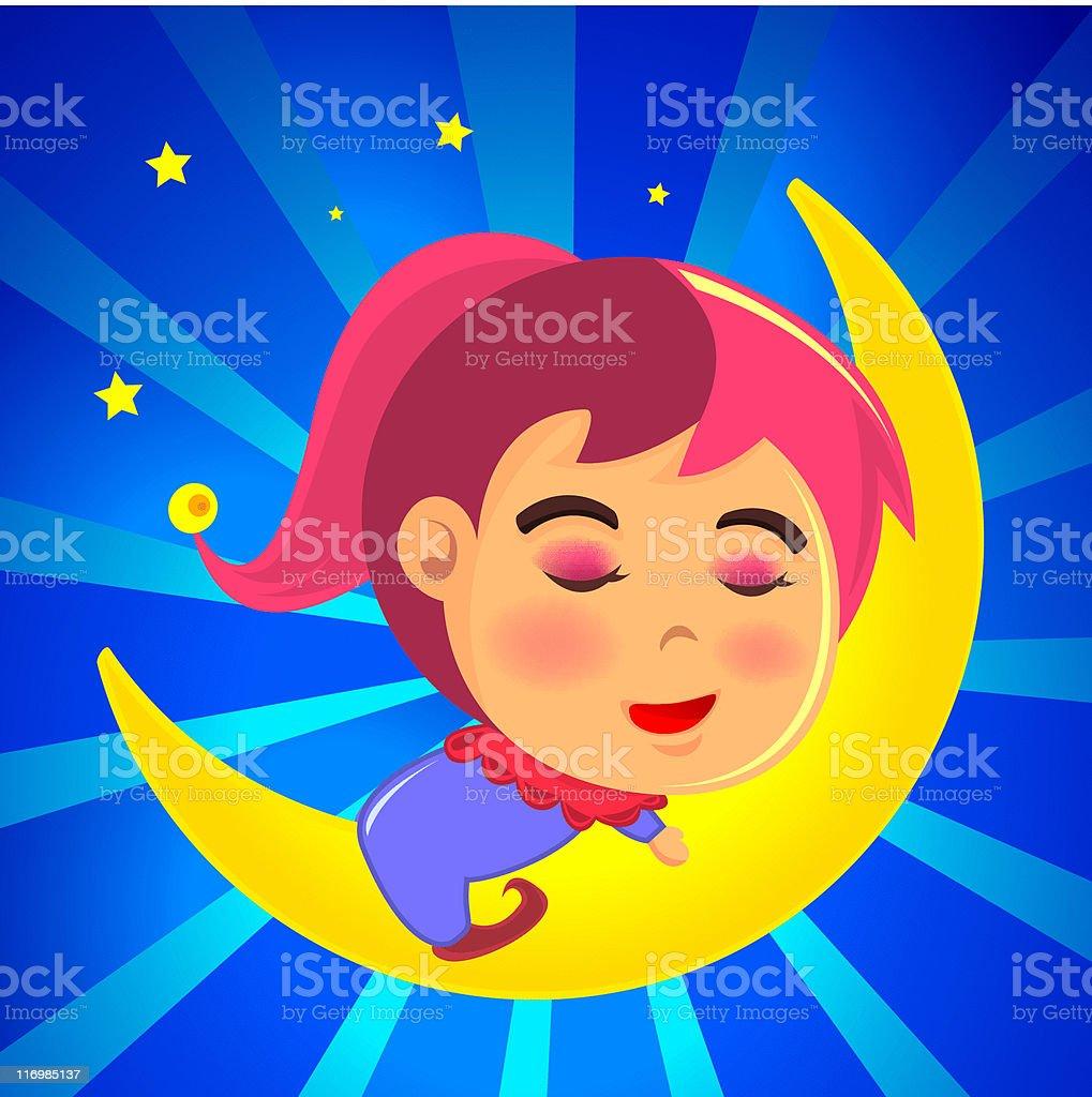 Cute girl sleeping on the moon vector art illustration
