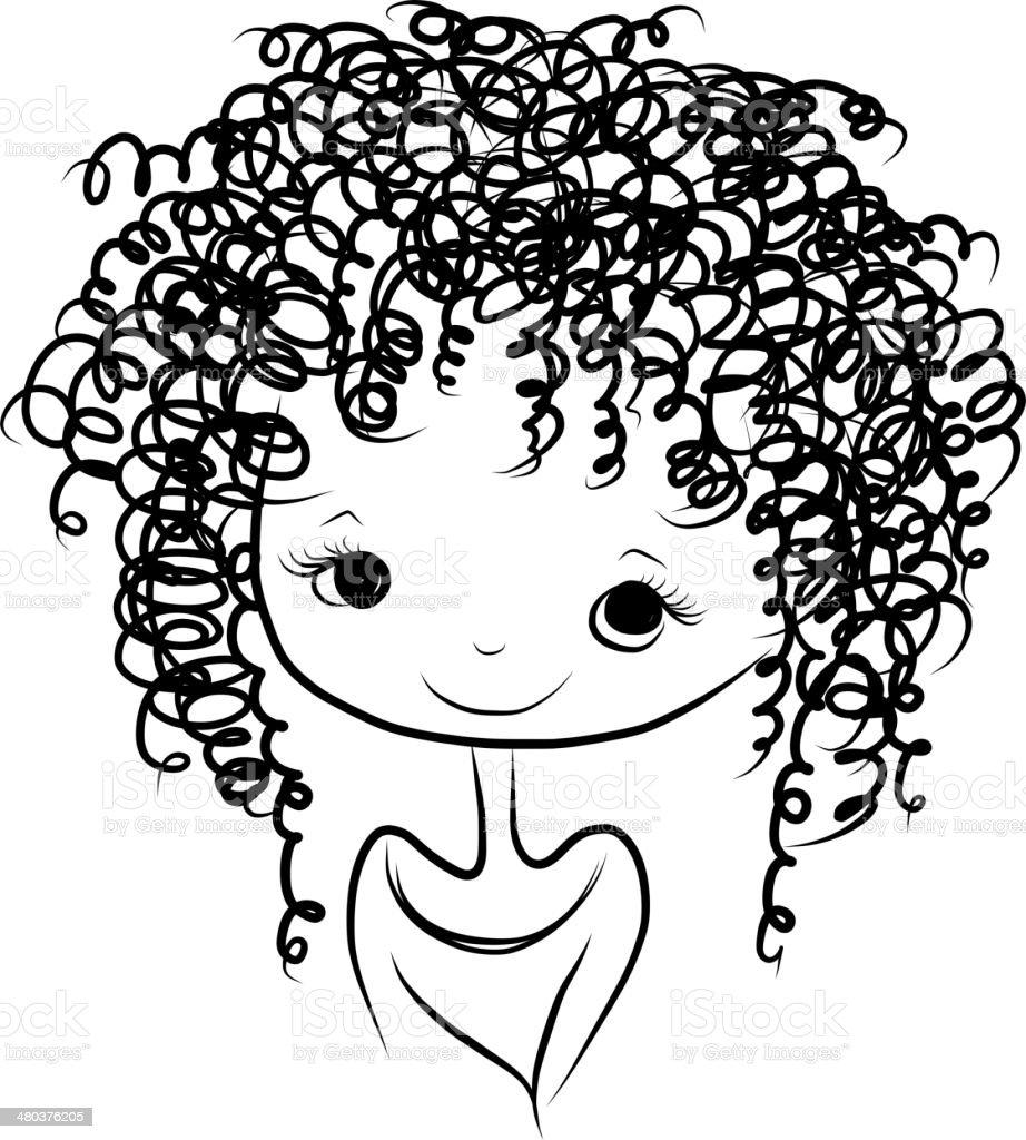 Cute girl smiling, sketch for your design vector art illustration