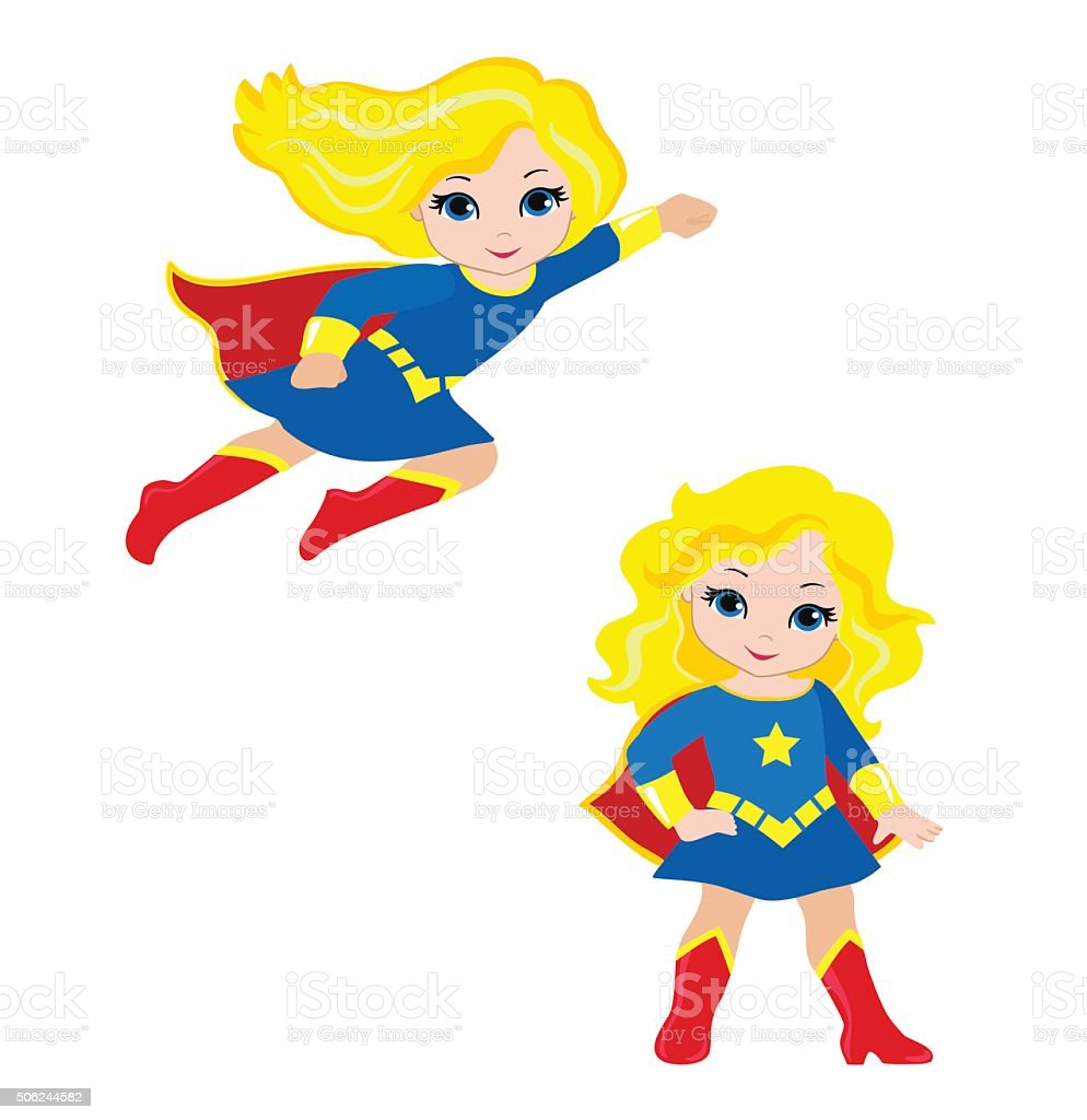 Cute Girl superhero in flight and in standing position. vector art illustration