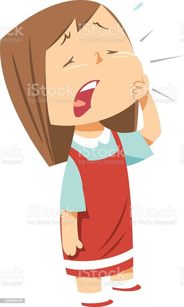 Cute girl toothache vector art illustration