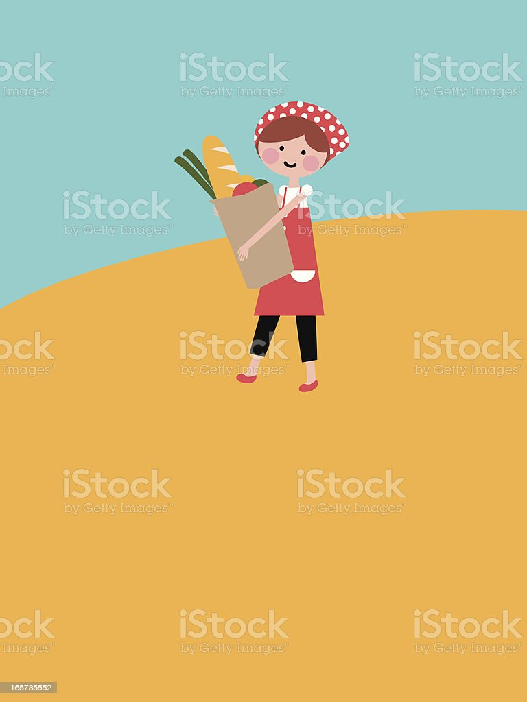 Cute girl walking with a bag of groceries royalty-free stock vector art