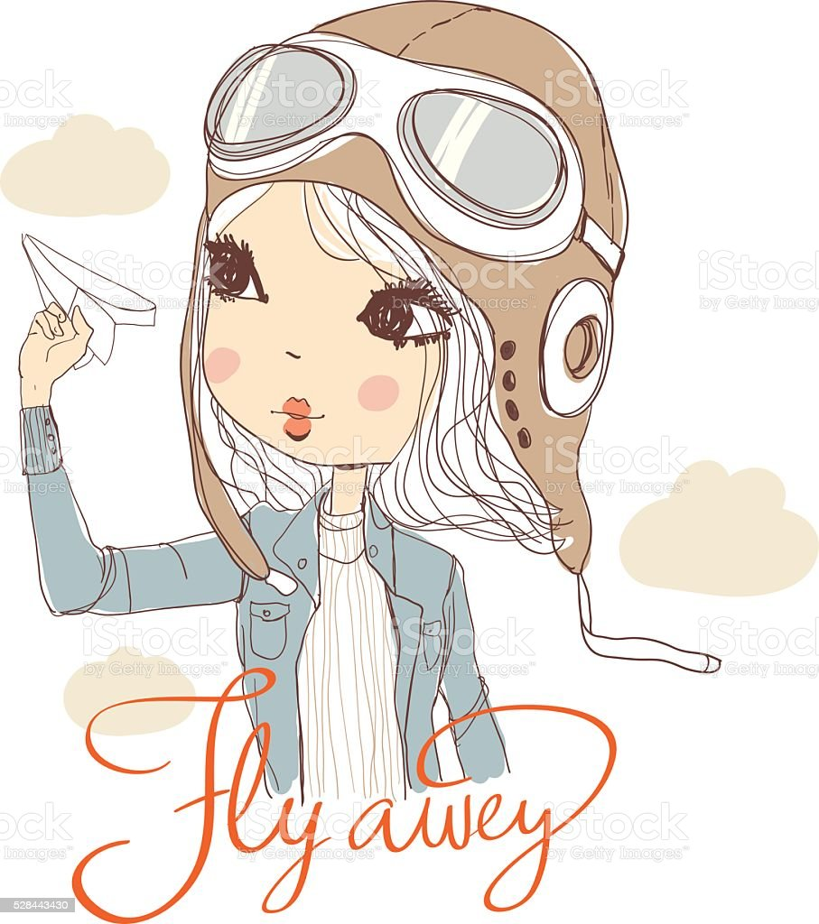 cute girl with aircraft royalty-free stock vector art