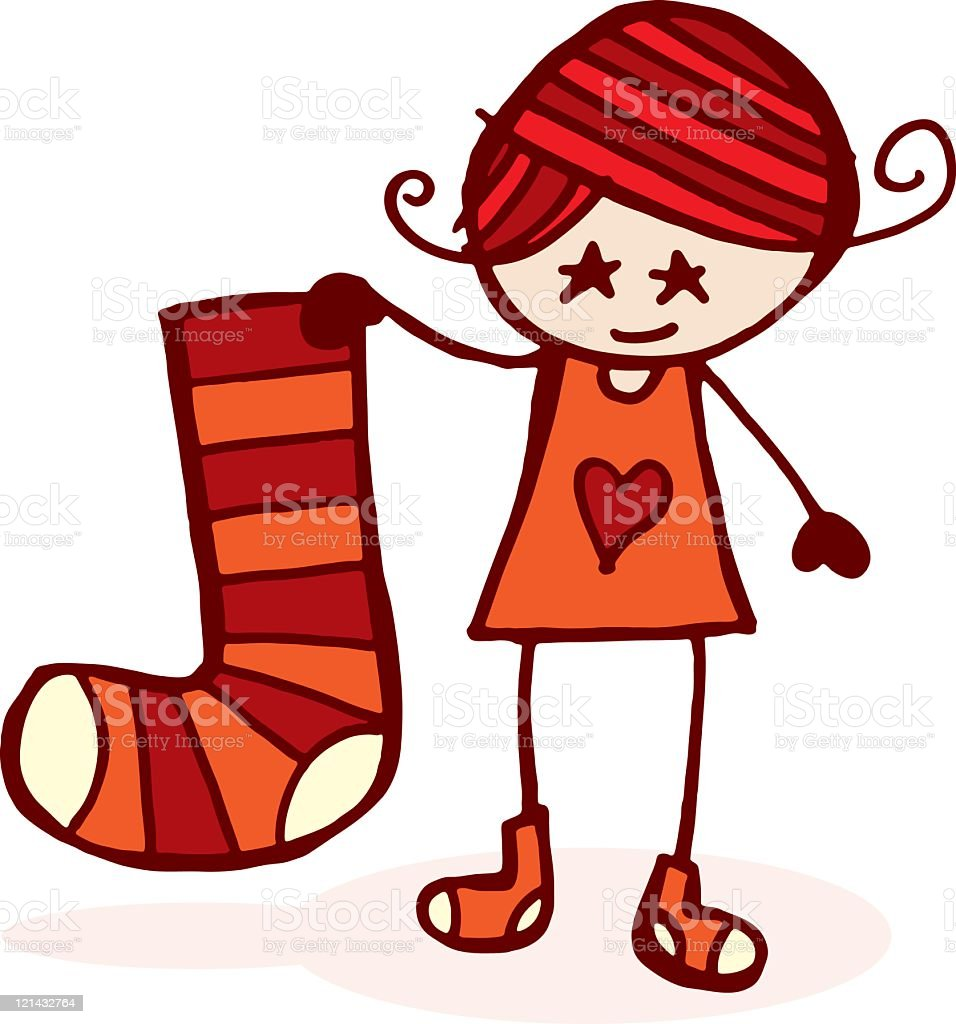 Cute girl with christmas stocking vector art illustration