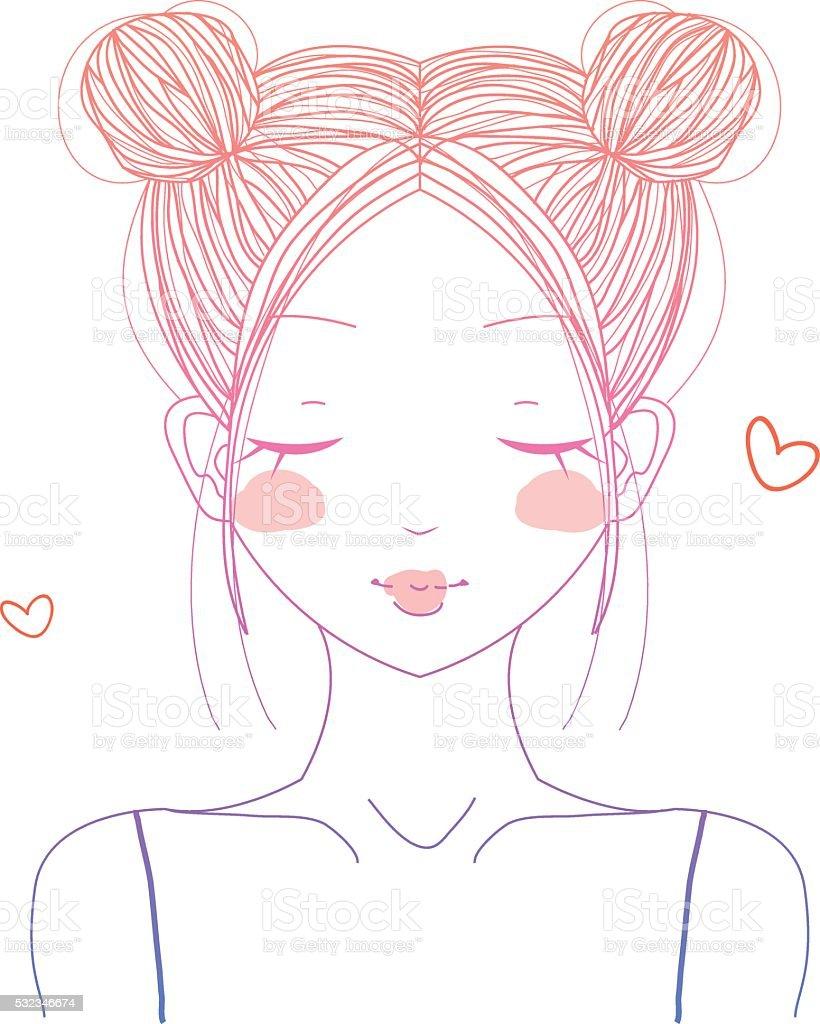 Cute girl with double buns vector art illustration