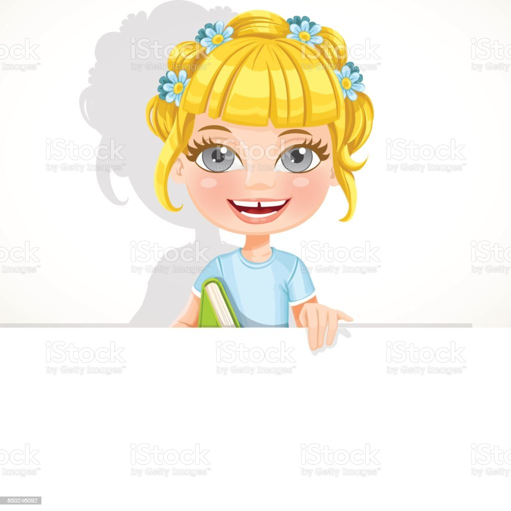 Cute girl with textbook hold big white banner vector art illustration