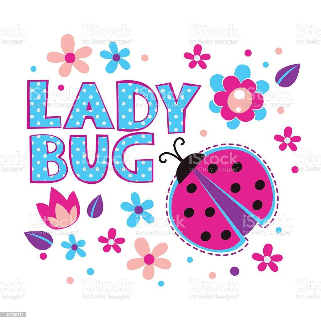 Cute girlish illustration with ladybug vector art illustration