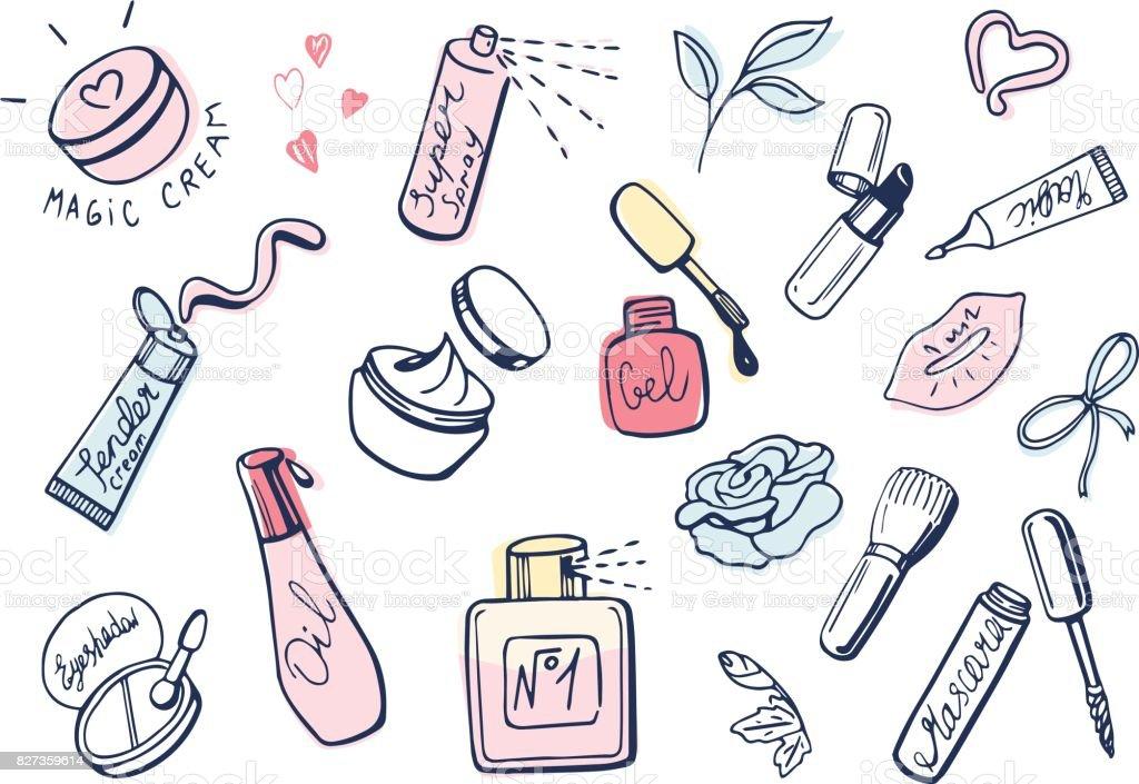 Cute girlish makeup items icons set vector art illustration