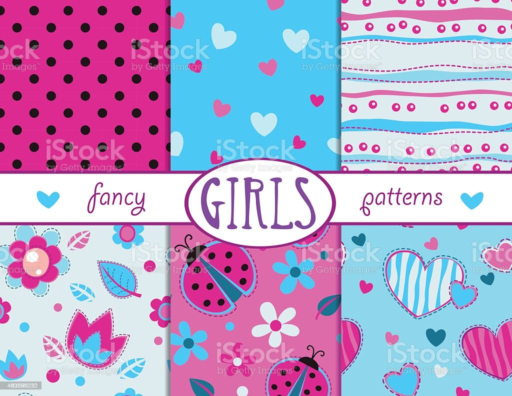 Cute girlish seamless patterns set vector art illustration