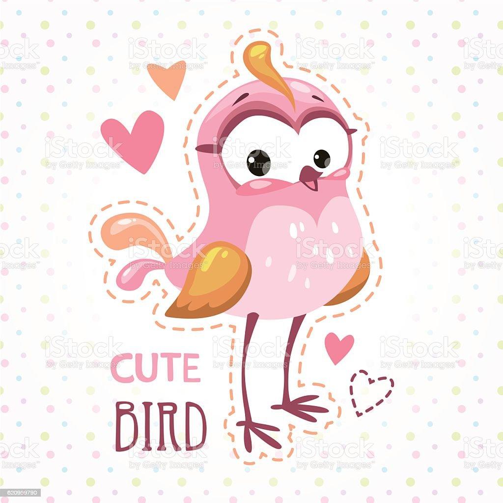 Cute girlish t shirt print template with bird vector art illustration