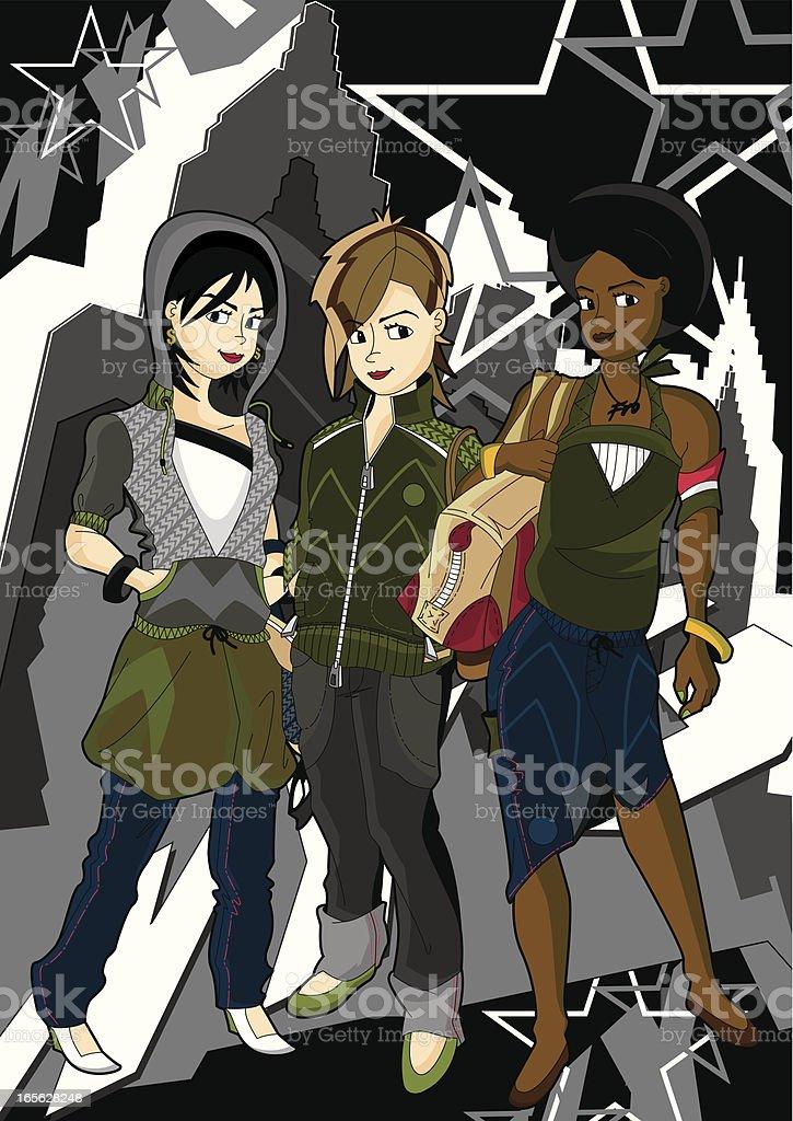 Cute Girls in City Grunge Scene royalty-free stock vector art