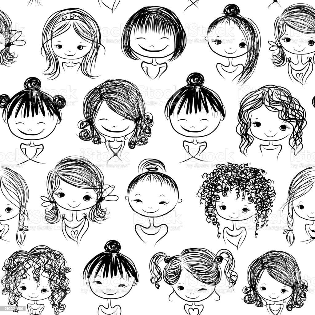 Cute girls, seamless pattern for your design vector art illustration