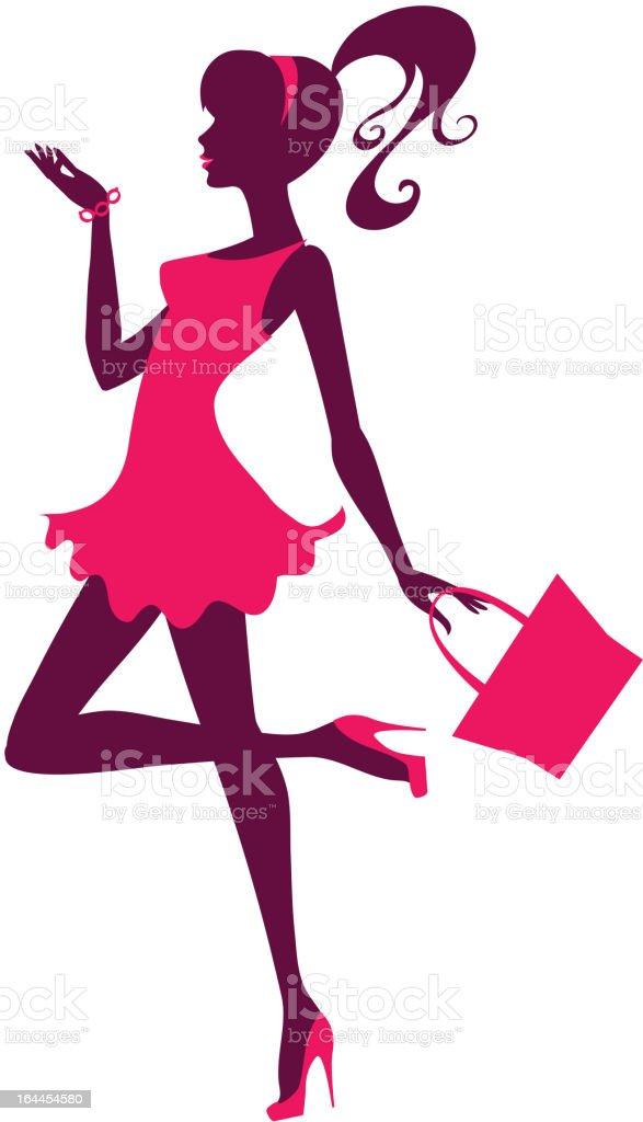 Cute girl's silhouette vector art illustration