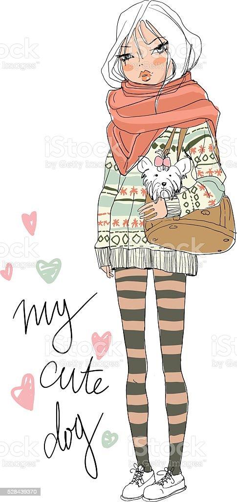 cute girls royalty-free stock vector art