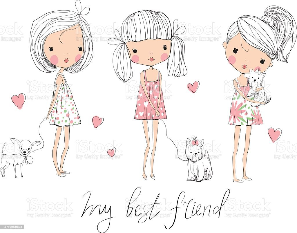 cute girls with dogs royalty-free stock vector art