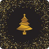 Cute Gold Glitter Christmas Holiday Icons