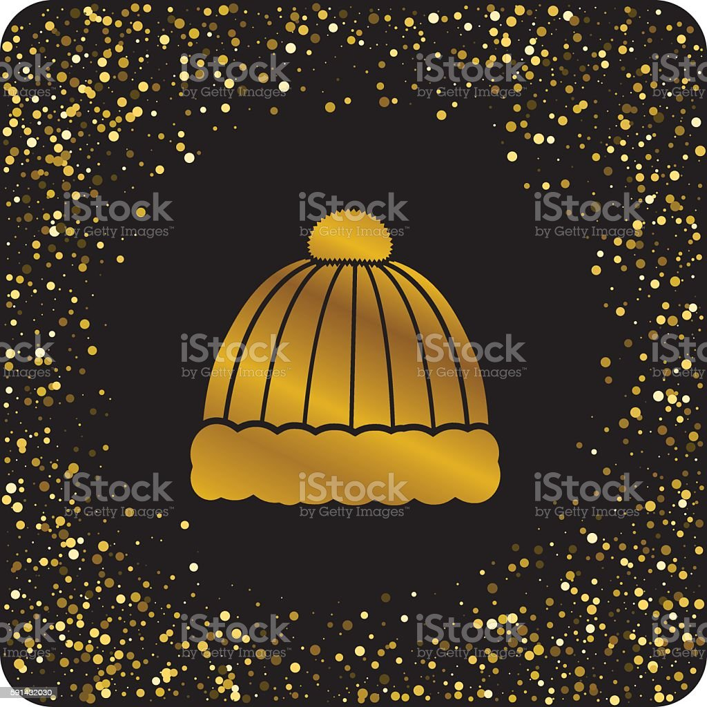 Cute Gold Glitter Christmas Holiday Icons vector art illustration